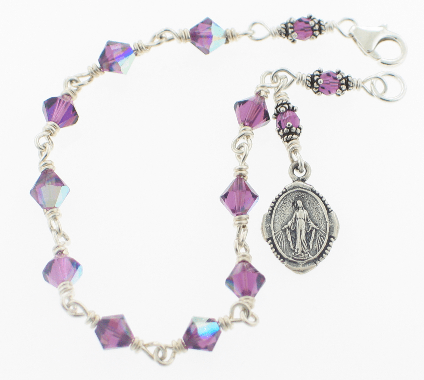 Amethyst Swarovski Crystal Sterling Silver Bracelet by Heavenly Divine