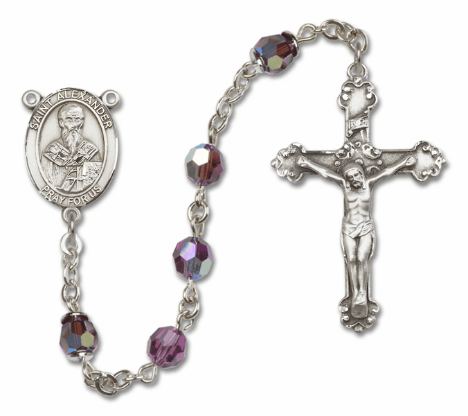 Amethyst Swarovski Patron Saint Sterling Silver Rosary by Bliss