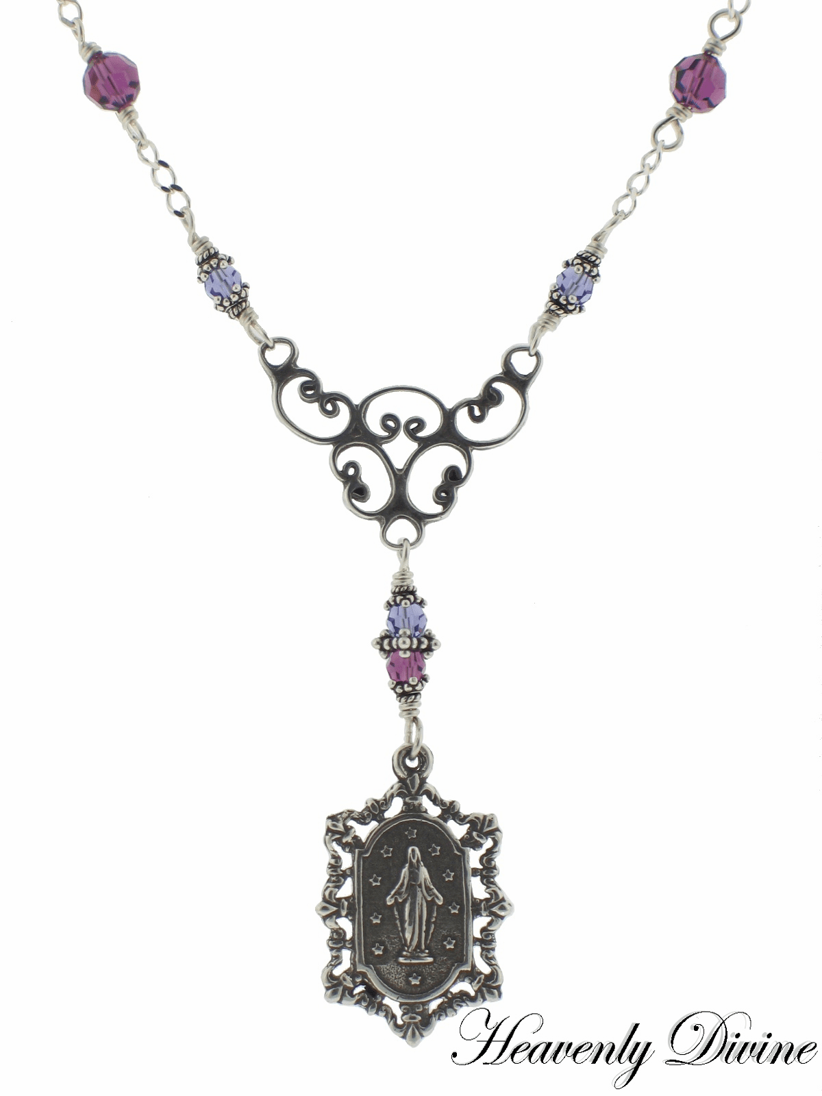 Amethyst & Tanzanite Swarovski Crystal Sterling Silver Miraculous Medal Necklace by Heavenly Divine