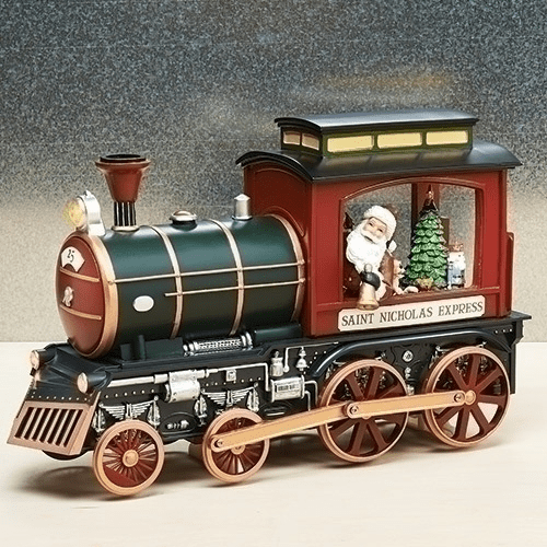 Amusements Christmas Red and Green Train w/Santa Claus Musical Figurine