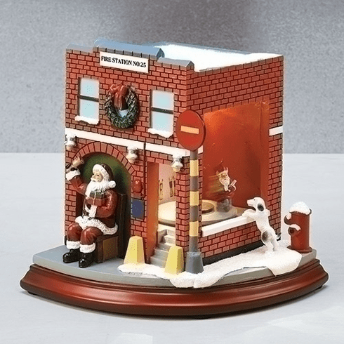 Amusements Christmas Red Fire Station with Santa Claus Musical Figurine
