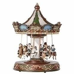 Amusements Musical Christmas Rotating Carousel w/Revolving Children