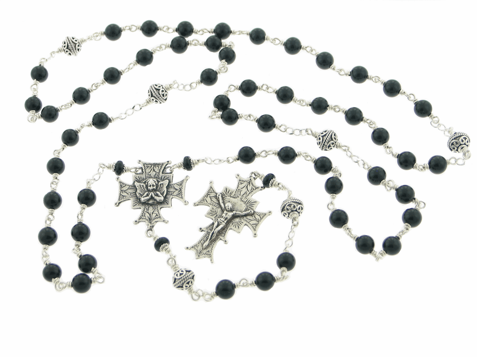Angel Black Onyx Sterling Silver Wire-Wrapped Prayer Rosary by Heavenly Divine