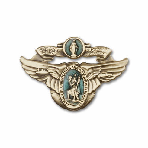 Antique Gold Our Lady of the Highway Visor Clip by Bliss