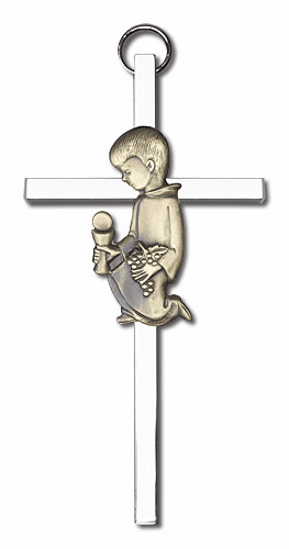 Antique Gold Praying Boy on Silver Wall Cross by Bliss