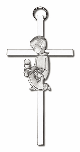 Antique Silver Communion Boy Cross