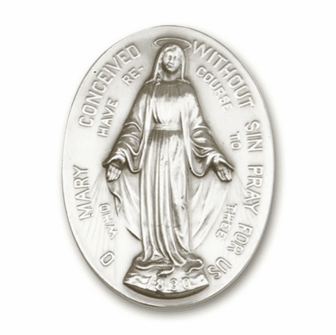 Antique Silver Immaculate  Conception Visor Clip