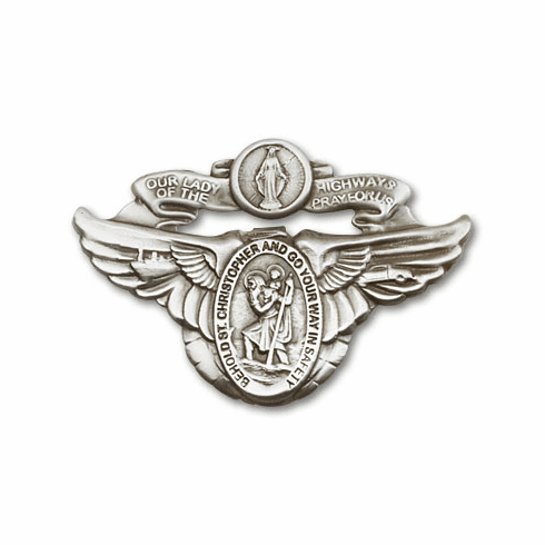 Antique Silver Our Lady of the Highway Visor Clip by Bliss