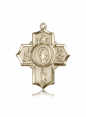 Bliss Mfg Apparitions Five-Way 14kt Gold Cross Medal Pendant