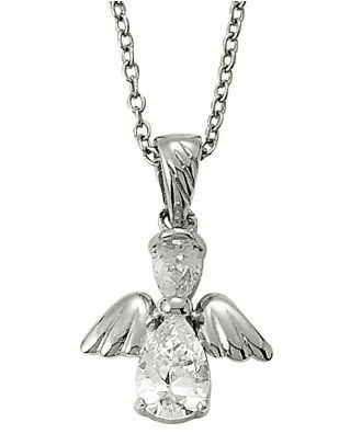 April Birthstone Angel Wing Sterling Silver Necklace
