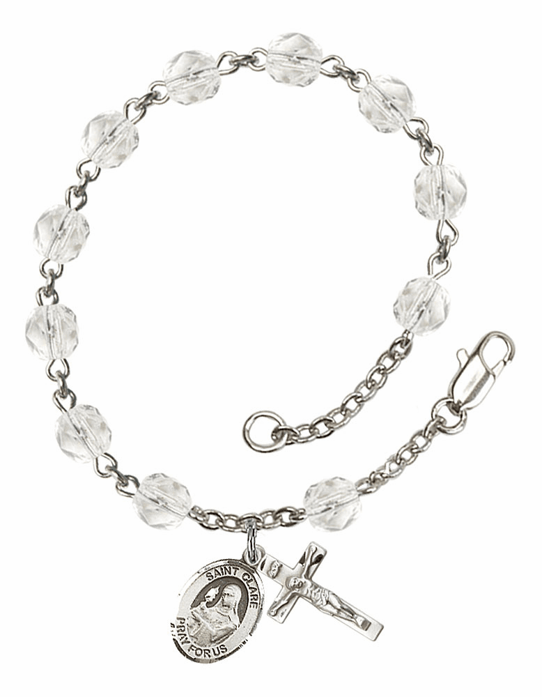 April Crystal Birthstone St Clare of Assisi Silver-Plate Rosary Bracelet