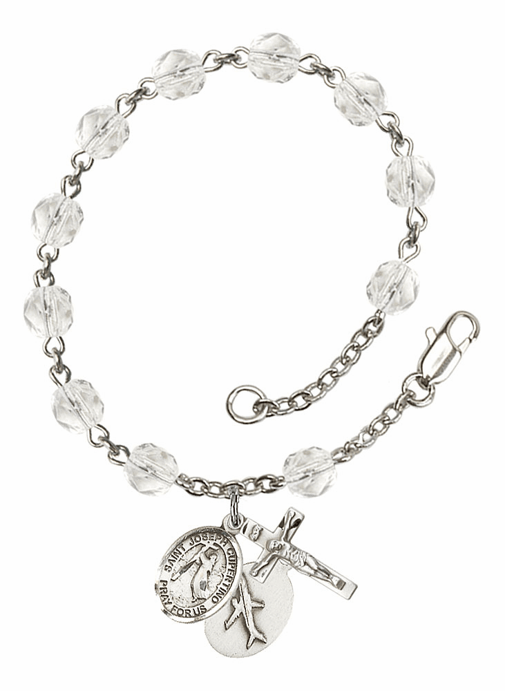 April Crystal Birthstone St Joseph of Cupertino Airplane Silver-Plate Rosary Bracelet