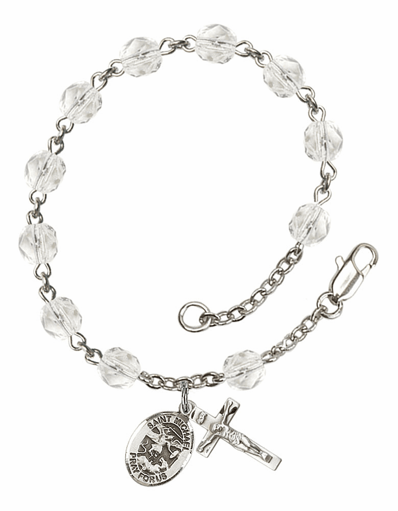 April Crystal Birthstone St Michael Archangel Silver-Plate Rosary Bracelet