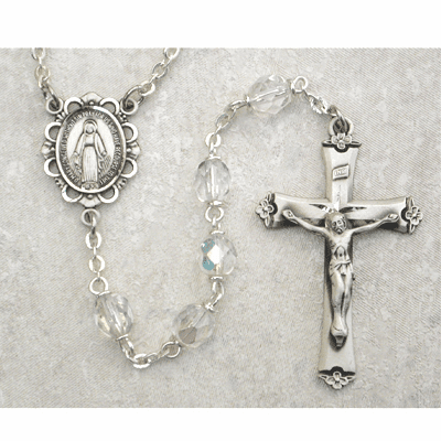 April Crystal Sterling Silver Birthstone Prayer Rosary by McVan