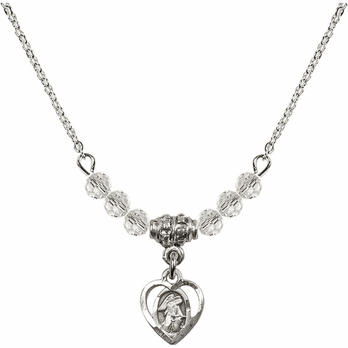 April Guardian Angel Heart Charm 6 Crystal Bead Necklace by Bliss Mfg