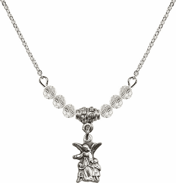 April Littlest Angel Charm 6 Crystal Bead Necklace by Bliss Mfg