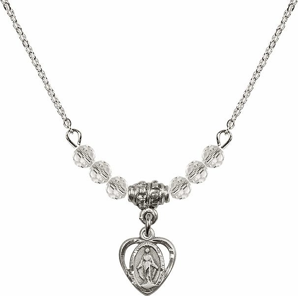 April Miraculous Heart Charm 6 Crystal Bead Necklace by Bliss Mfg