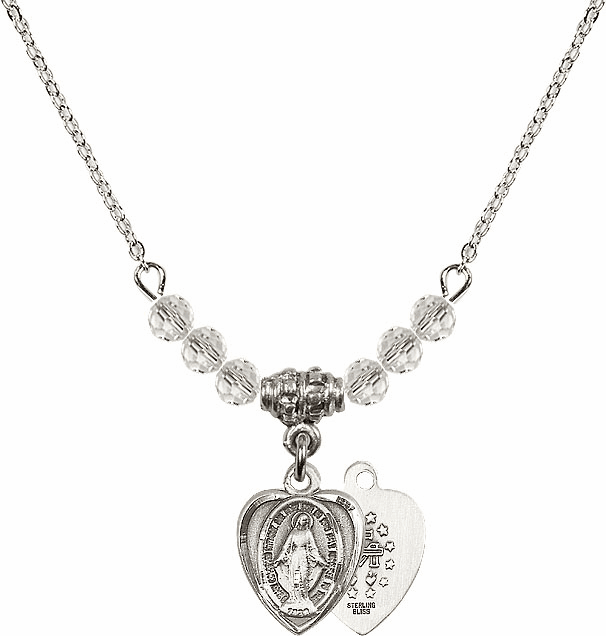 April Miraculous Heart Shaped Charm 6 Crystal Bead Necklace by Bliss Mfg