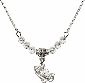 April Praying Hands Charm 6 Crystal Bead Necklace by Bliss Mfg