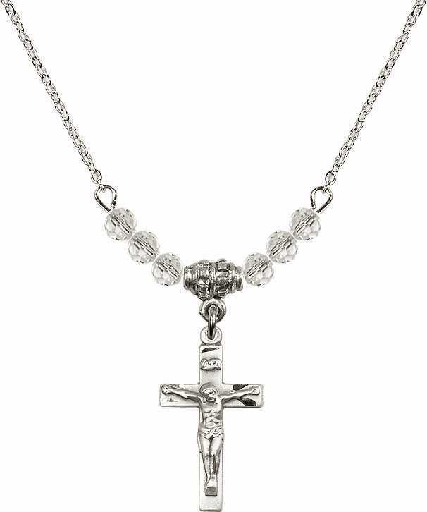 April Small Crucifix Charm 6 Crystal Bead Necklace by Bliss Mfg