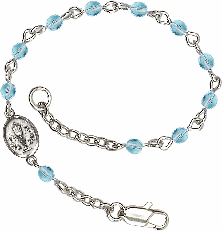 Aqua Checo Fire Polished Beads w/Pewter Communion Chalice Charm Bracelet by Bliss Mfg