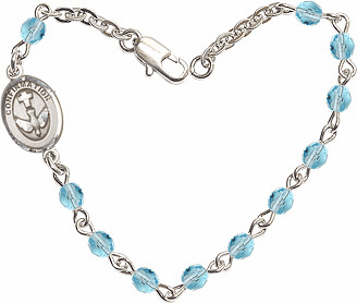 Aqua Checo Fire Polished Beads w/Pewter Confirmation Charm Bracelet by Bliss Mfg