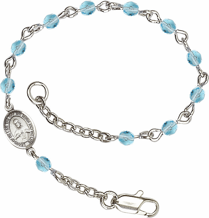 Aqua Checo Fire Polished Beads w/Pewter Sacred Heart Scapular Charm Bracelet by Bliss Mfg