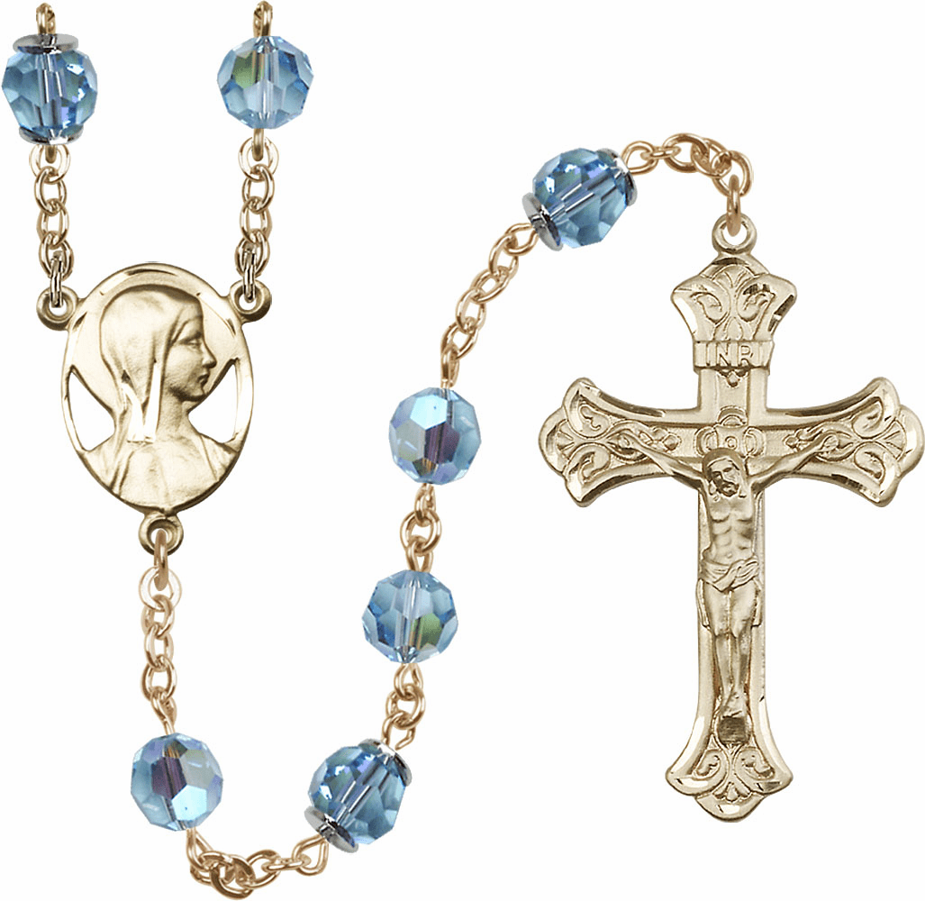 Aqua Swarovski 8mm Aurora Borealis Crystal Rosary 14kt Gold Rosary by Bliss