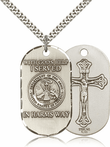 Army Crucifix Dog Tag Medal Necklace