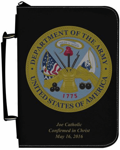 Army Military Personalized Black Catholic Bible Cover Case
