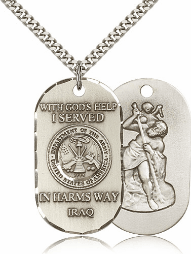 Army St. Christopher Dog Tag Iraq Necklace