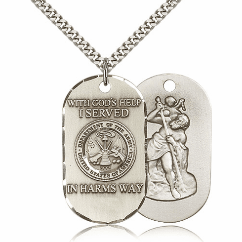 Army St Christopher Dog Tag Medal Necklace