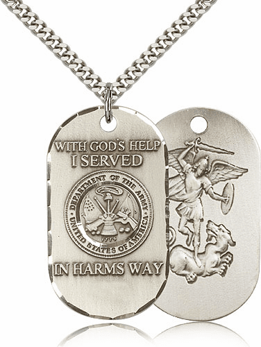 Army St Michael Dog Tag Medal Necklace
