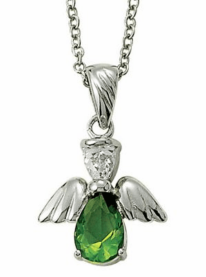 August Birthstone Angel Wing Sterling Silver Necklace
