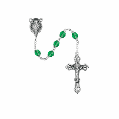 August Peridot Birthstone AB Crystal Prayer Rosary w/Sacred Heart by McVan