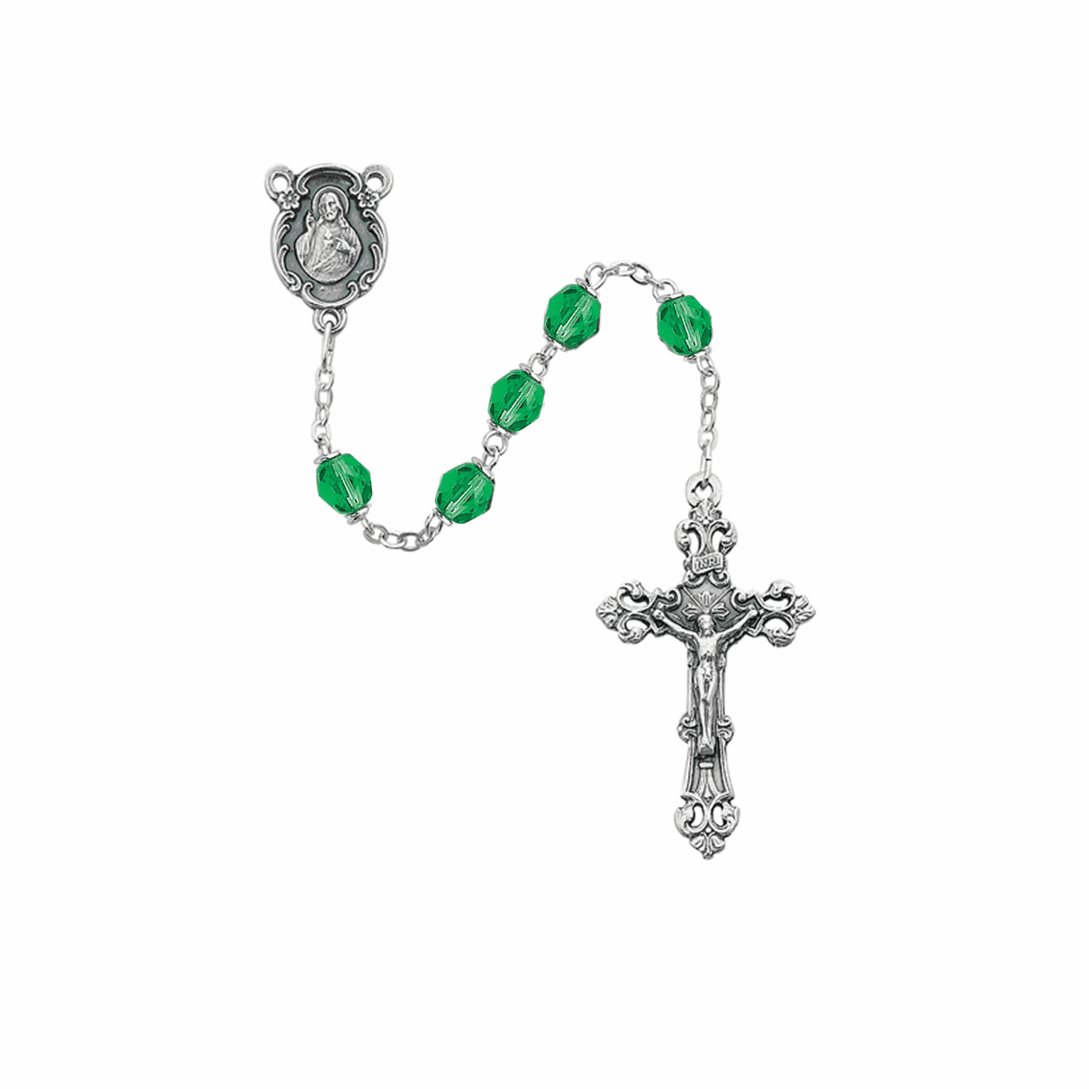 August Peridot Birthstone Crystal Prayer Rosary w/Sacred Heart by McVan