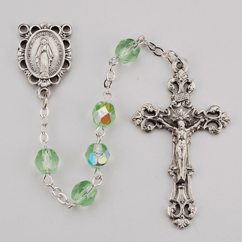 August Peridot Birthstone Crystal Prayer Rosary w/Scallop Miraculous by McVan
