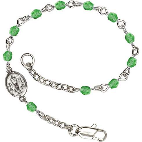 August Peridot Checo Fire Polished Beads w/Pewter Communion Chalice Charm Bracelet by Bliss Mfg