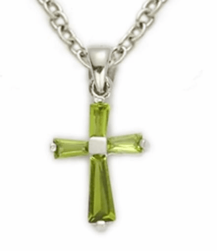August Peridot Crystal Birthstone Baby Cross Necklace by Singer
