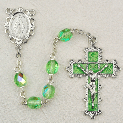August Peridot Crystal Birthstone Prayer Rosary by McVan