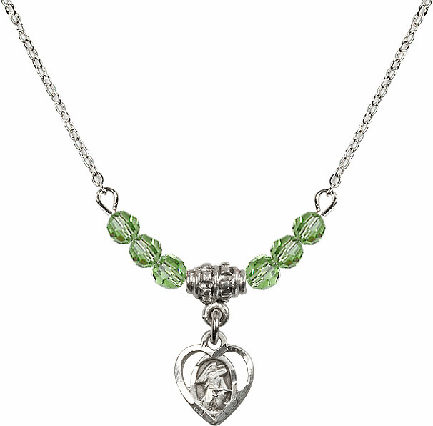 August Peridot Guardian Angel Heart Charm with 6 Crystal Bead Necklace by Bliss Mfg