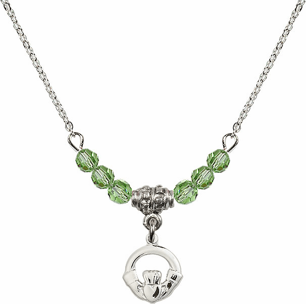 August Peridot Irish Claddagh Charm with 6 Crystal Bead Necklace by Bliss Mfg