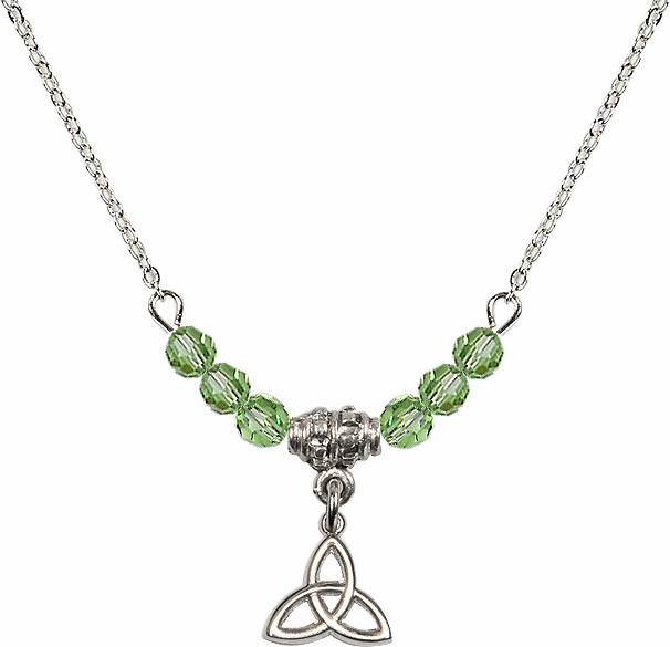 August Peridot Irish Trinity Knot Charm with 6 Crystal Bead Necklace by Bliss Mfg