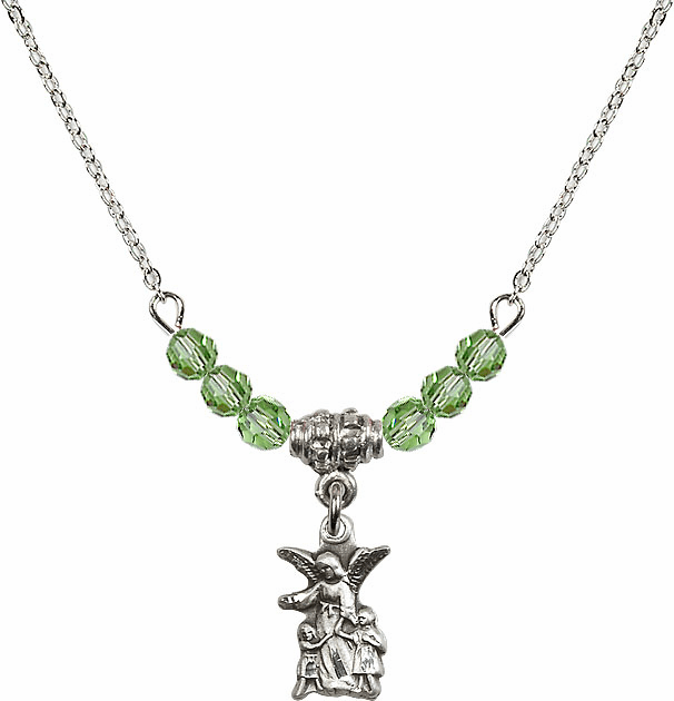 August Peridot Littlest Angel Charm with 6 Crystal Bead Necklace by Bliss Mfg