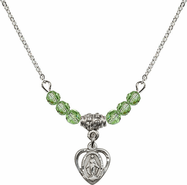 August Peridot Miraculous Heart Charm with 6 Crystal Bead Necklace by Bliss Mfg