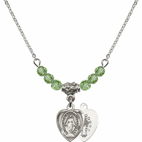 August Peridot Miraculous Heart Shaped Charm with 6 Crystal Bead Necklace by Bliss Mfg