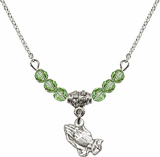 August Peridot Praying Hands Charm with 6 Crystal Bead Necklace by Bliss Mfg