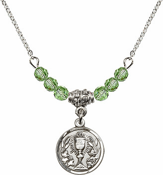 August Peridot Round Chalice Charm Crystal Bead Necklace by Bliss Mfg