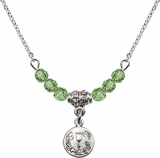 August Peridot Round Chalice Charm with 6 Crystal Bead Necklace by Bliss Mfg