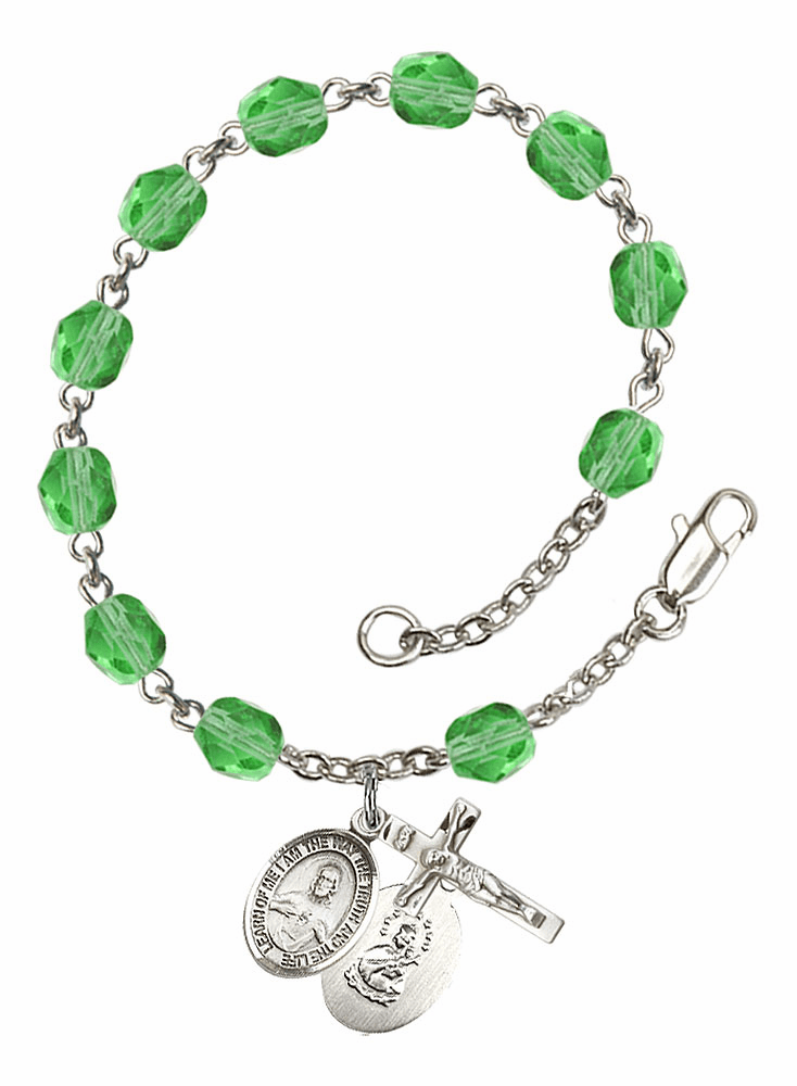 August Peridot Sacred Heart of Jesus Scapular Birthstone Rosary Bracelet by Bliss